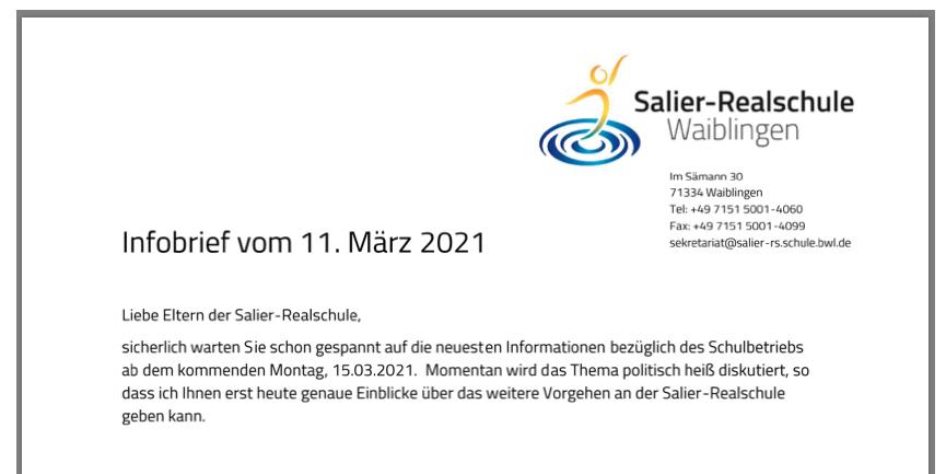 Infos zum Unterricht ab Montag, 15.03.